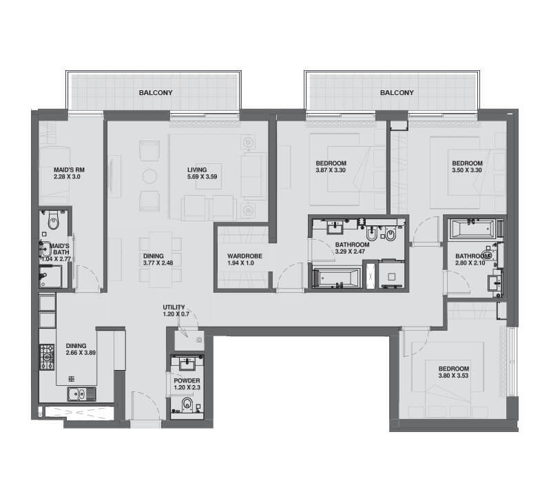 Plan of 3 Bedroom Apartment - Sobha Hartland Greens