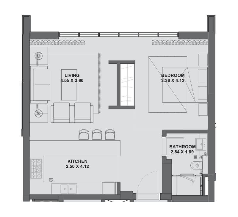 Plan for Studio Apartment - Level 2-6