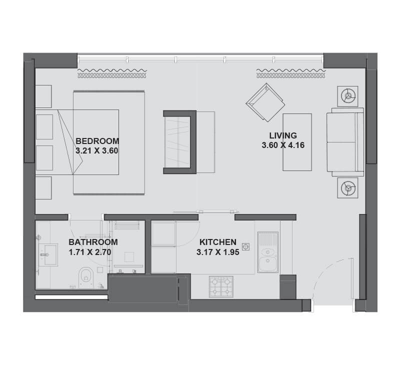 Plan for Studio Apartment - Hartland Greens